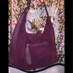 Phase 3's Burgundy Simulated Suede Shoulder Bag
